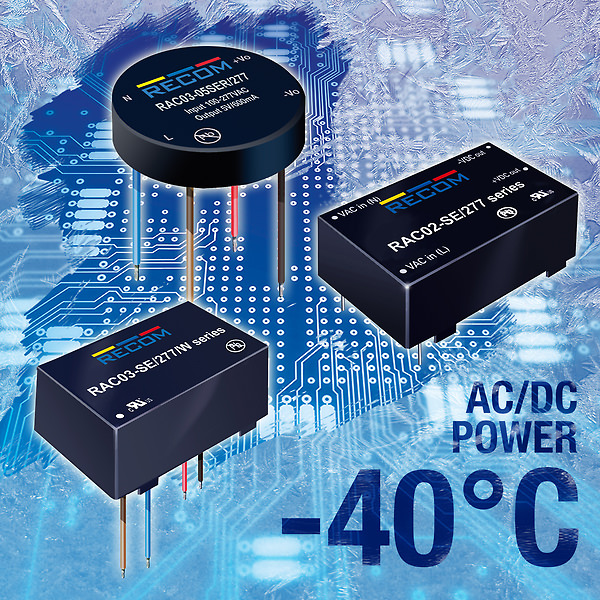 RECOM's latest AC-DC power supplies now offer extended operating temperature down to -40°C